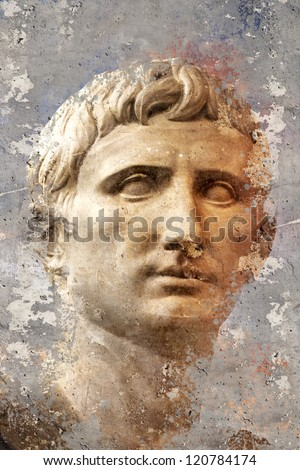 Artistic portrait with textured background, classical Greek sculpture - stock photo