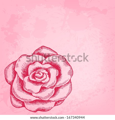 Artistic raster background with ink style hand drawn decorative rose - stock photo