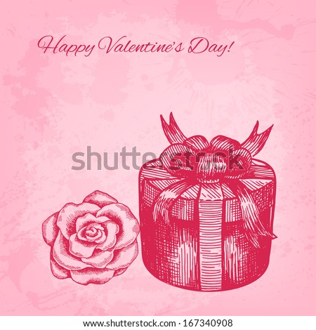 Artistic raster valentine background with ink style hand drawn rose and gift box - stock photo