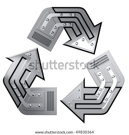 Artistic recycling symbol made of steel. Conceptual 3D illustration. Environment and ecology industry concept. Isolated on white background.