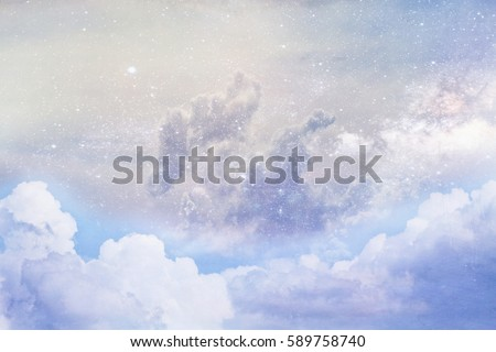 "Artistic rendition of clouds and space using ""Elements of this image furnished by NASA"""