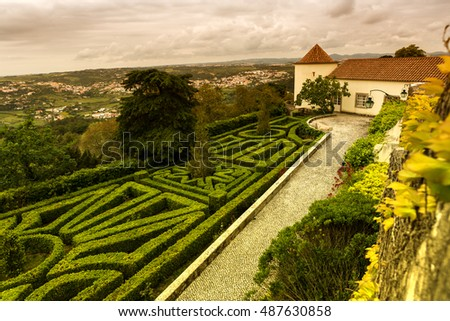 artistic scenery - old building with beautiful garden in Sintra near Lisbon, Portugal