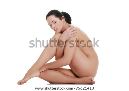 Artistic shot a beautiful naked woman , isolated on white background - stock photo