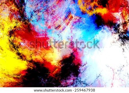 Artistic splashes of bright paints. Abstract bright color pattern. Modern futuristic background for wallpaper, interior, album, flyer cover, poster. Fractal artwork for creative graphic design. - stock photo