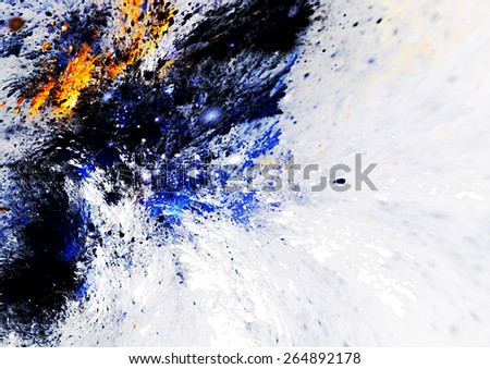 Artistic splashes of bright paints. Abstract color background. Modern futuristic pattern for wallpaper, interior, album, flyer cover, poster, booklet. Fractal artwork for creative graphic design. - stock photo
