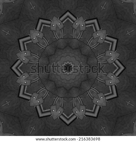 Artistic stylish metallic kaleidoscope illustration in steampunk style - stock photo
