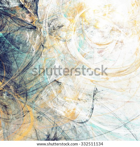 Artistic texture of paints. Abstract beautiful blue and yellow background. Modern futuristic pattern. Fractal artwork for creative graphic design