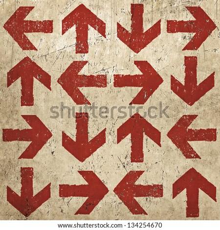Artistic vintage design arrows, grunge texture - stock photo