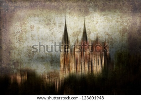 Artistic work made of several of my own captures to produce a spooky castle. Useful for different purposes. Intentional motion blur. - stock photo