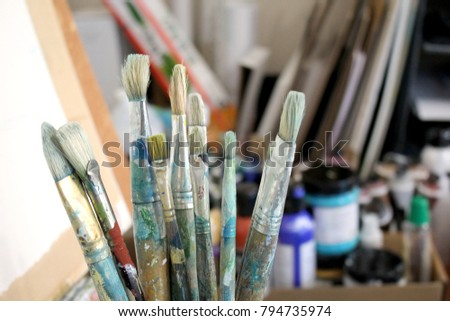 Artists Brushes with soft focus studio background