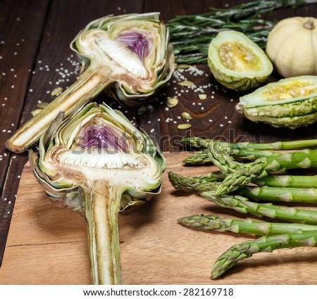 artochoke and aspargus - stock photo