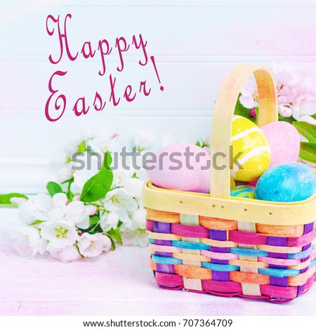 Artsy And Colorful Easter Eggs In Basket With Shabby Chic Painting Effect Happy Holiday