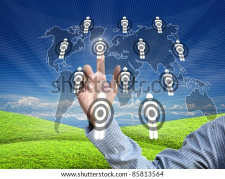 artwork from business hand pointing virtual screen. - stock photo