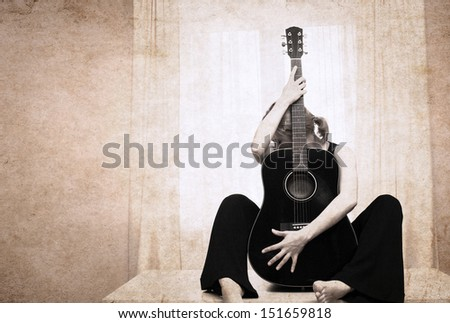 artwork  in grunge style,  woman and guitar - stock photo