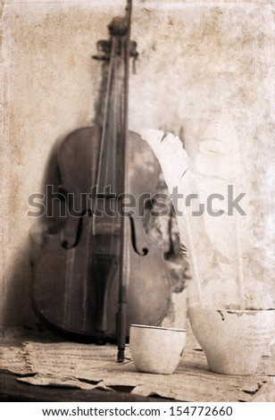 artwork  in retro style, cup of coffee and violin - stock photo