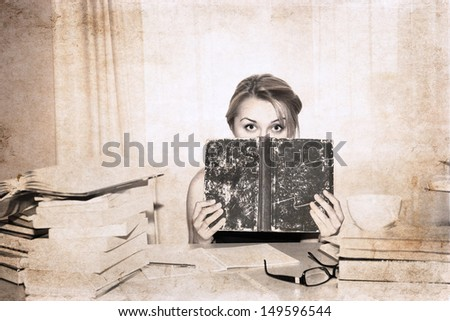 artwork  in retro style,  girl, preparation for exams - stock photo