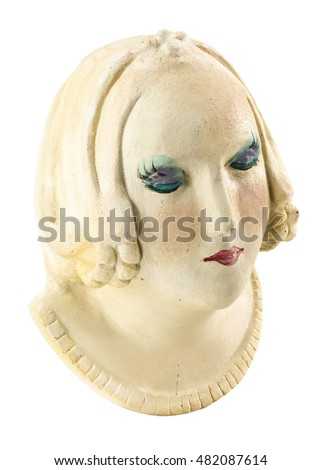 artwork - isolated plaster bust on white background