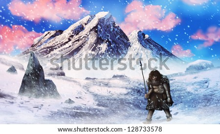artwork of a neanderthal caveman hunter walking through an ice age blizzard - stock photo