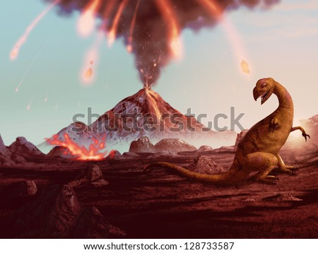 artwork of a violently erupting volcano raining fire down on a helpless dinosaur