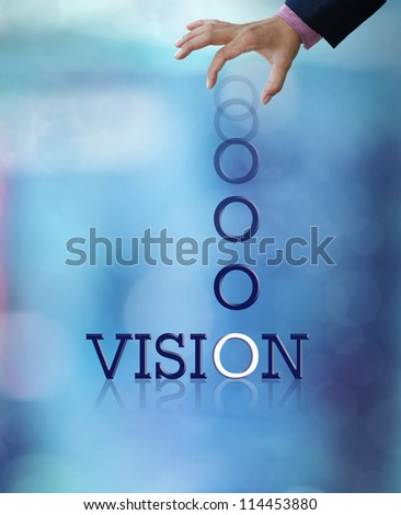 Artwork of business wording with dropping letter from business hand. - stock photo