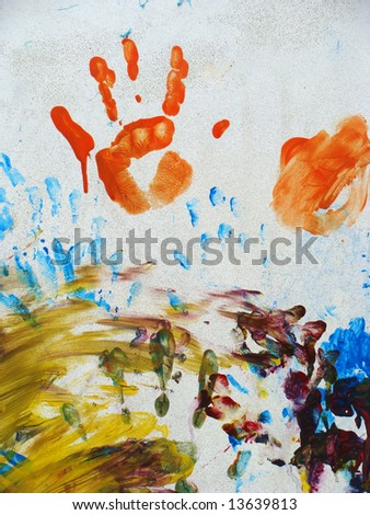 artwork of children finger painting on a wall