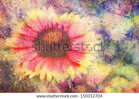 artwork with beautiful red and yellow flower and colorful watercolor splatter - stock photo
