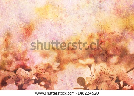 artwork with blooming apricot tree branches and watercolor strokes - stock photo