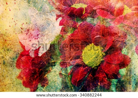 artwork with red flowers and watercolor splashes