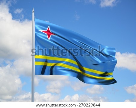 Aruba 3d flag floating in the wind with a blue sky in the background - stock photo