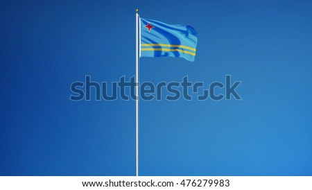 Aruba flag waving against clean blue sky, long shot, isolated with clipping mask alpha channel transparency