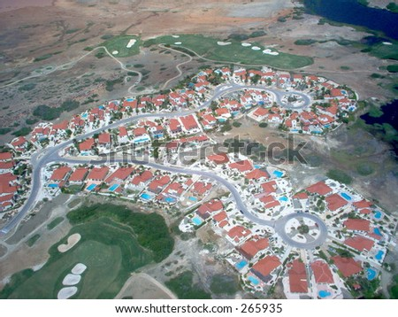 Aruba from the Air - stock photo