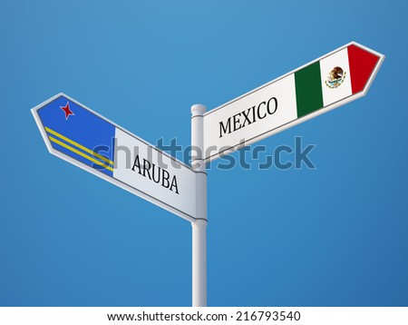Aruba Mexico High Resolution Sign Flags Concept