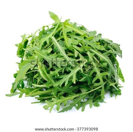 Arugula salad isolated white close up - stock photo