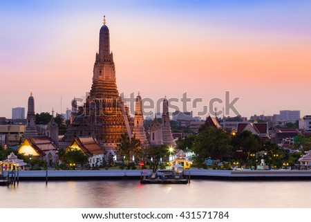 Arun Temple river front, Thailand Landmark, the most famous tourist destination in Bangkok Thailand - stock photo