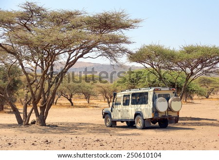 ARUSHA , TANZANIA - JUNE 2 : safari jeep is standing in the shadow of a acaccia  tree in Africa on june 2,2014 , Tanzania. Four wheel drive vehicles are necessary when you enter a wildlife park.  - stock photo