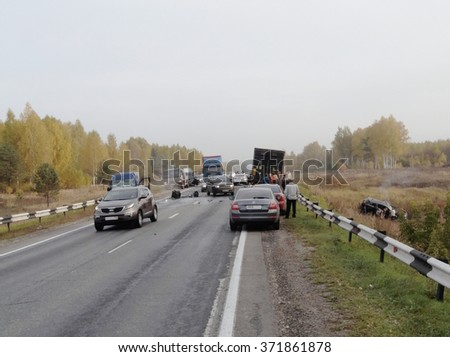ARZAMAS, RUSSIA - OCT 2014:  A traffic jam on the highway due to the accident