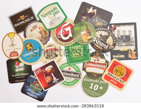 AS, CZECH - JANUARY 26, 2015: Beermats from Czech, Germany, Belgium and Holland.  Heineken Pilsener premium quality. Heineken beer was first brewed by Gerard Adriaan Heineken in 1873 and many other.