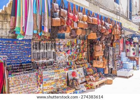 AS-SAWIRA, MOROCCO, APRIL 7, 2015: Stands with souvenirs and curios - stock photo