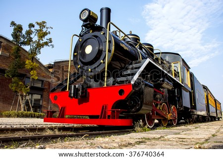 As steam trains for exhibition   - stock photo