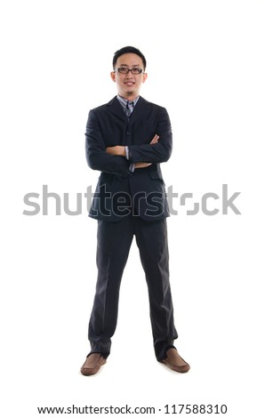 asan business man full body isolated on white - stock photo