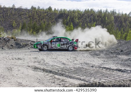 "Asbest, Russia, 22 May 2016 - Rally ""Ural Chrysotile 2016"" 10th round of the Russian Cup, start number 3, Mitsubishi Evolution car, the driver Remennik"