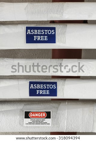 Asbestos Insulation Warning - stock photo