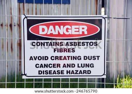 Asbestos sign - stock photo