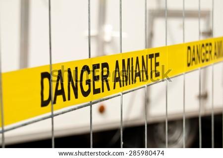 asbestos site sign - stock photo