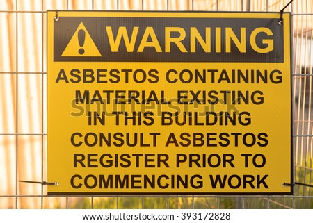 Asbestos Warning sign - stock photo