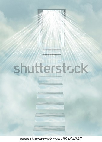 Ascending stairway to heaven through clouds. - stock photo