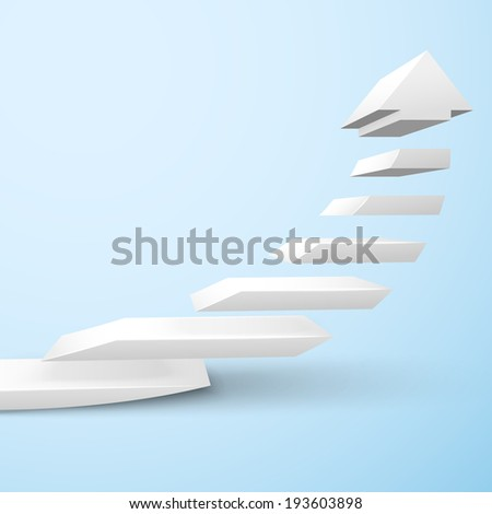 Ascending upward staircase arrow symbol rising moving improvement concept  illustration - stock photo