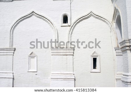 Ascension cathedral facade. Old architecture of Kolomenskoye park in Moscow, Russia. Popular landmark. UNESCO World Heritage Site. - stock photo