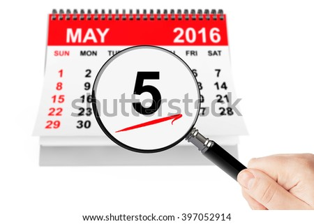 Ascension Day Concept. 5 may 2016 calendar with magnifier on a white background - stock photo
