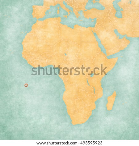Ascension Island Uk On Map Africa Stock Illustration 493595923